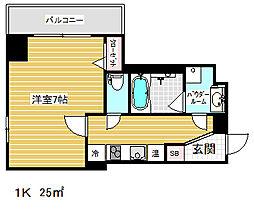 アドバンス三宮ステージア 2階1Kの間取り
