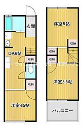 京阪本線 大和田駅 徒歩8分の賃貸テラスハウス 2階3DKの間取り