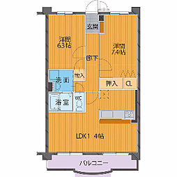 ハートフルマンションシャーレ—[104号室]の間取り