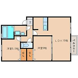 奈良県奈良市三碓町の賃貸アパートの間取り