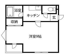 JR高徳線 阿波川端駅 徒歩32分の賃貸アパート 2階1Kの間取り