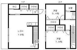 [タウンハウス] 福岡県久留米市高野2丁目 の賃貸【/】の間取り