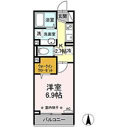 横浜市営地下鉄ブルーライン 片倉町駅 徒歩14分の賃貸アパート 3階1Kの間取り