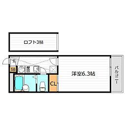 大阪府大阪市東住吉区湯里5丁目の賃貸マンションの間取り