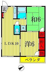 フジコーポ八ヶ崎[2階]の間取り