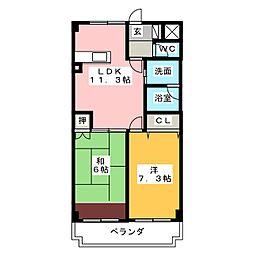 第2西垣マンション[4階]の間取り