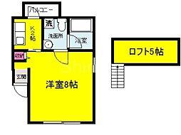 大阪府堺市堺区百舌鳥夕雲町2丁の賃貸アパートの間取り
