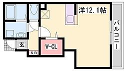 神鉄三田線 五社駅 徒歩8分の賃貸アパート 1階1Kの間取り