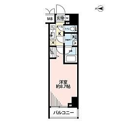 プレール・ドゥーク文京湯島 4階1Kの間取り