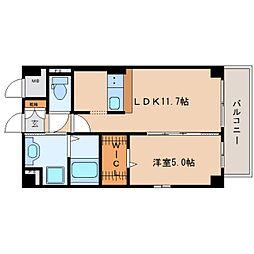 近鉄大阪線 二上駅 徒歩1分の賃貸マンション 5階1SLDKの間取り