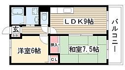 グローリィ桜ケ丘南[203号室]の間取り