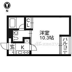 阪急嵐山線 上桂駅 徒歩11分の賃貸マンション 1階1Kの間取り