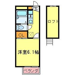 兵庫県神戸市北区鈴蘭台南町3丁目の賃貸アパートの間取り