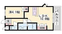 JR山陰本線 和田山駅 徒歩20分の賃貸アパート 2階1LDKの間取り