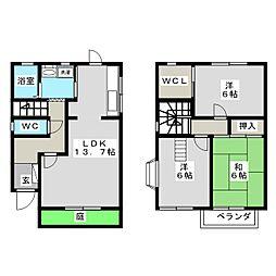 [テラスハウス] 岡山県岡山市北区津島西坂1丁目 の賃貸【/】の間取り
