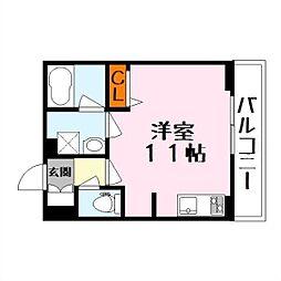 シャーメゾンsublime 3階ワンルームの間取り