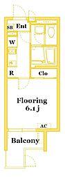 JR横須賀線 衣笠駅 徒歩14分の賃貸マンション 3階1Kの間取り