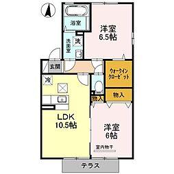 埼玉県鴻巣市北新宿の賃貸アパートの間取り