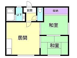 平成ハイツ 2階2LDKの間取り