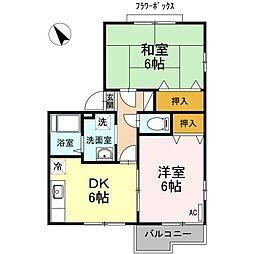 神奈川県相模原市中央区中央6丁目の賃貸アパートの間取り