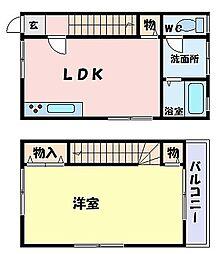JR山陽本線 御着駅 徒歩20分の賃貸アパート 2階1LDKの間取り