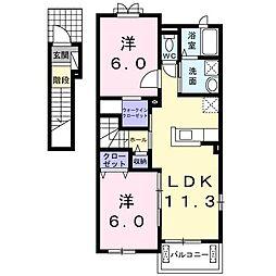 香川県さぬき市長尾東(アパート) 2階2LDKの間取り