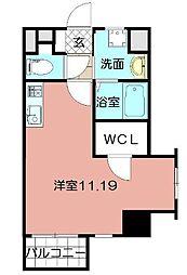 Studie KOKURA NORTH 4階ワンルームの間取り