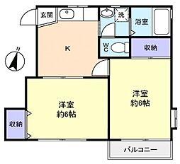 コーポKOHAKU[2階]の間取り
