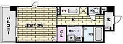 阪神本線 御影駅 徒歩9分の賃貸マンション 2階1Kの間取り