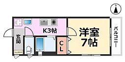Cozyセイケン五番館[202号室号室]の間取り