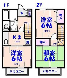 [テラスハウス] 千葉県市川市大野町1丁目 の賃貸【/】の間取り