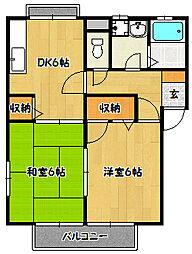 兵庫県神戸市北区鈴蘭台北町2丁目の賃貸アパートの間取り