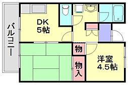 クラブ春日原[6階]の間取り