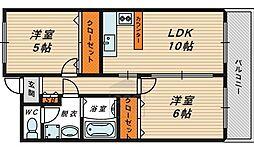 コート・サンファイン 7階2DKの間取り