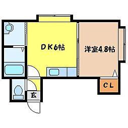 JR函館本線 札幌駅 徒歩6分の賃貸アパート 2階1DKの間取り
