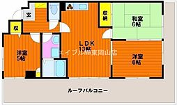 岡山県岡山市中区円山丁目なしの賃貸マンションの間取り