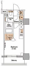 ザ・パークハビオ西横浜 9階ワンルームの間取り