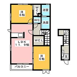 グランツみしまIII[2階]の間取り
