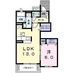 兵庫県たつの市誉田町福田の賃貸アパートの間取り