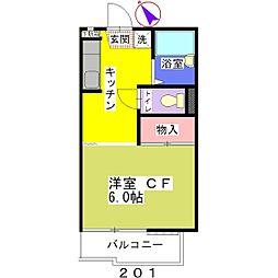 コーポオダカ[201号室]の間取り