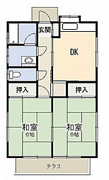 関根住宅II 1階2DKの間取り