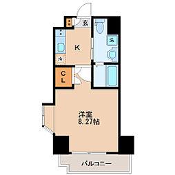 仙台市地下鉄東西線 川内駅 徒歩18分の賃貸マンション 2階1Kの間取り
