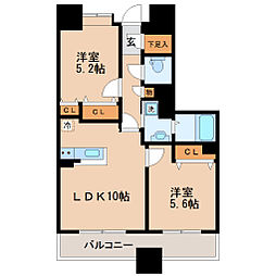 仙台市営南北線 五橋駅 徒歩3分の賃貸マンション 7階2LDKの間取り