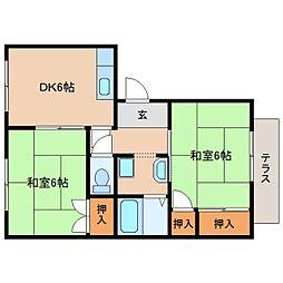 近鉄天理線 前栽駅 徒歩3分の賃貸アパート 1階2DKの間取り