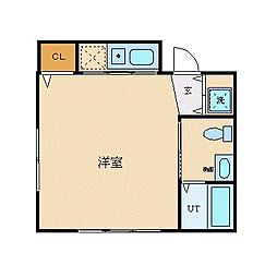 JR中央本線 西国分寺駅 徒歩1分の賃貸マンション 4階ワンルームの間取り