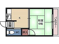 福田荘 3階1Kの間取り