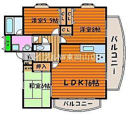 岡山県岡山市中区中島丁目なしの賃貸マンションの間取り