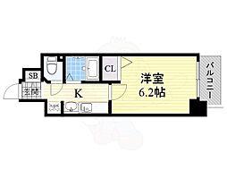 Osaka Metro御堂筋線 新大阪駅 徒歩10分の賃貸マンション 6階1Kの間取り