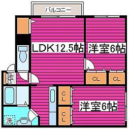 北海道札幌市北区新琴似五条2丁目の賃貸アパートの間取り