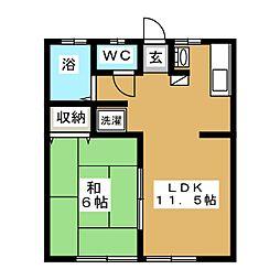 上アパート[1階]の間取り